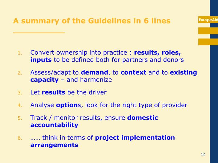 A summary of the Guidelines in 6 lines __________
