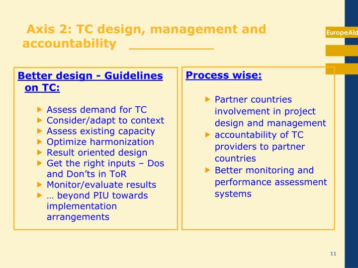 Axis 2: TC design, management and accountability   __________