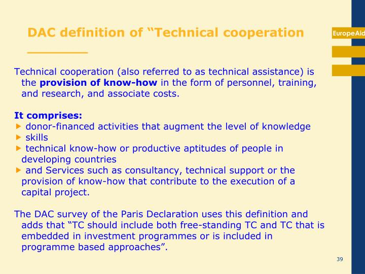 "DAC definition of ""Technical cooperation   _______"