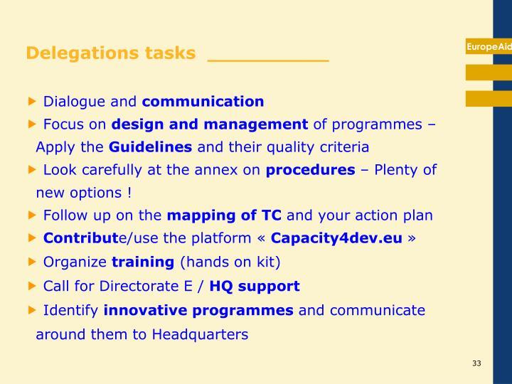 Delegations tasks