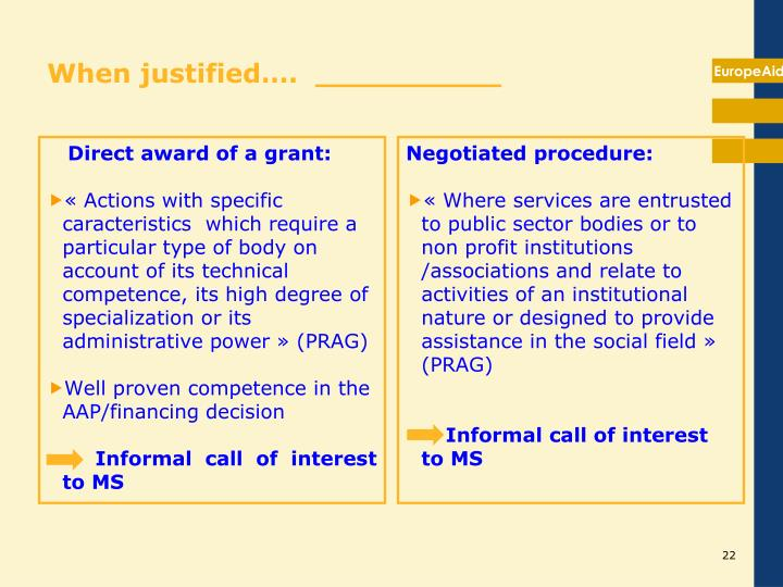 Direct award of a grant: