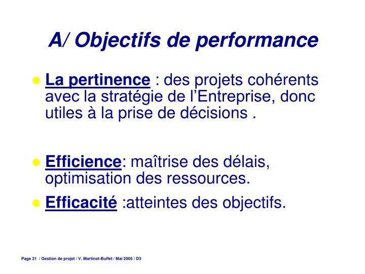 A/ Objectifs de performance