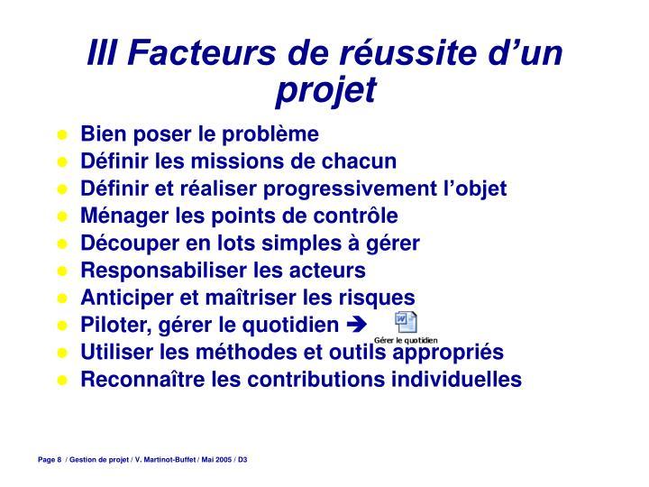 III Facteurs de réussite d'un projet