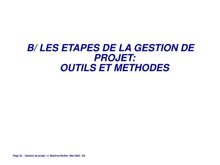 B/ LES ETAPES DE LA GESTION DE PROJET: