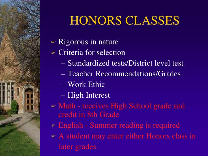 HONORS CLASSES