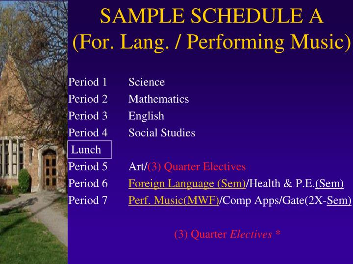 SAMPLE SCHEDULE A