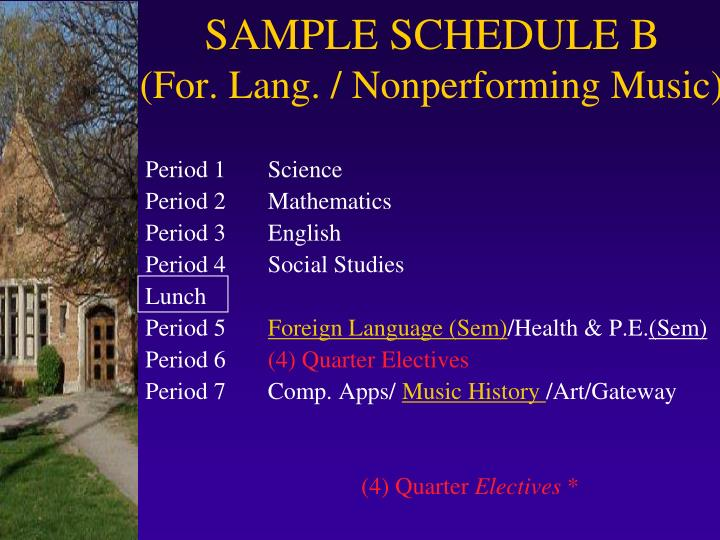 SAMPLE SCHEDULE B
