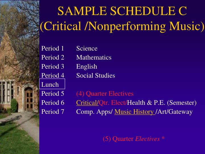 SAMPLE SCHEDULE C