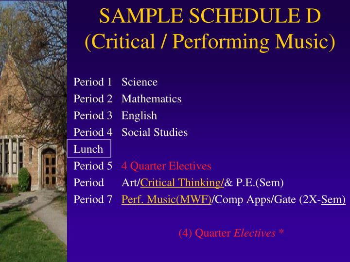 SAMPLE SCHEDULE D