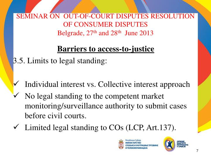 SEMINAR ON  OUT-OF-COURT DISPUTES RESOLUTION OF CONSUMER DISPUTES