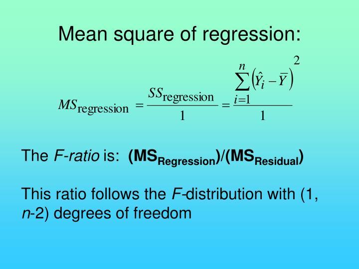 Mean square of regression: