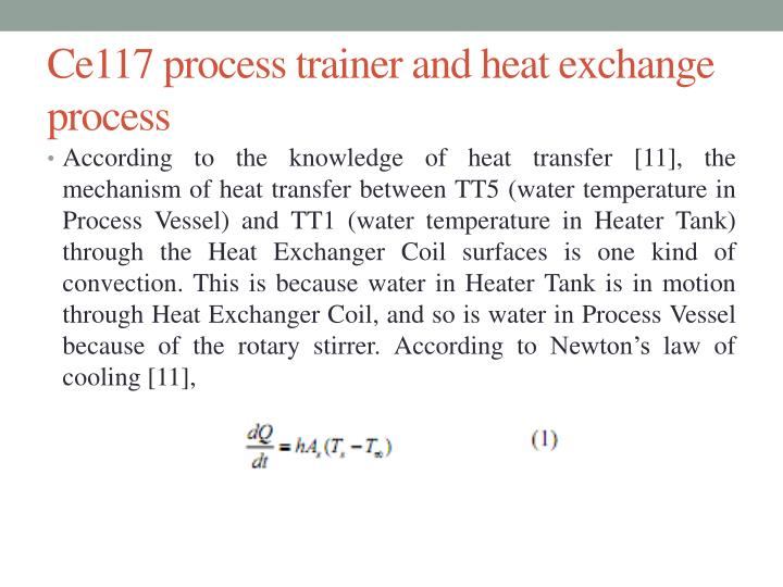 Ce117 process trainer and heat exchange process