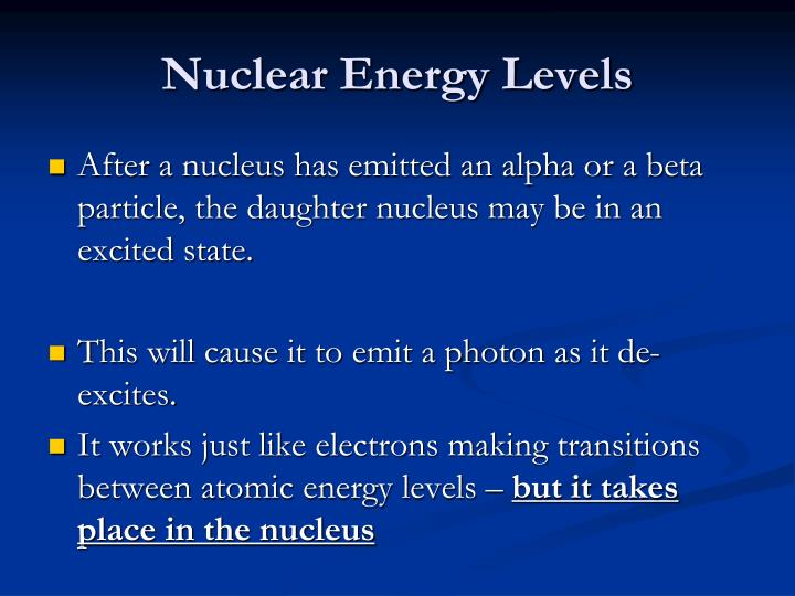 Nuclear Energy Levels