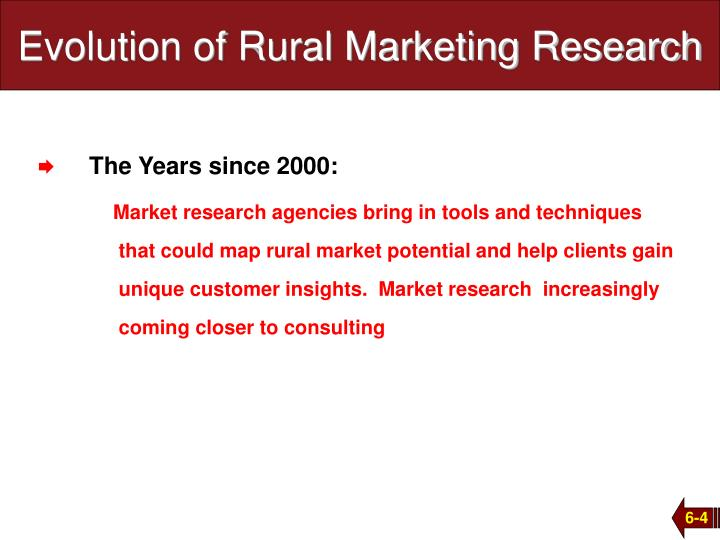 Evolution of Rural Marketing Research