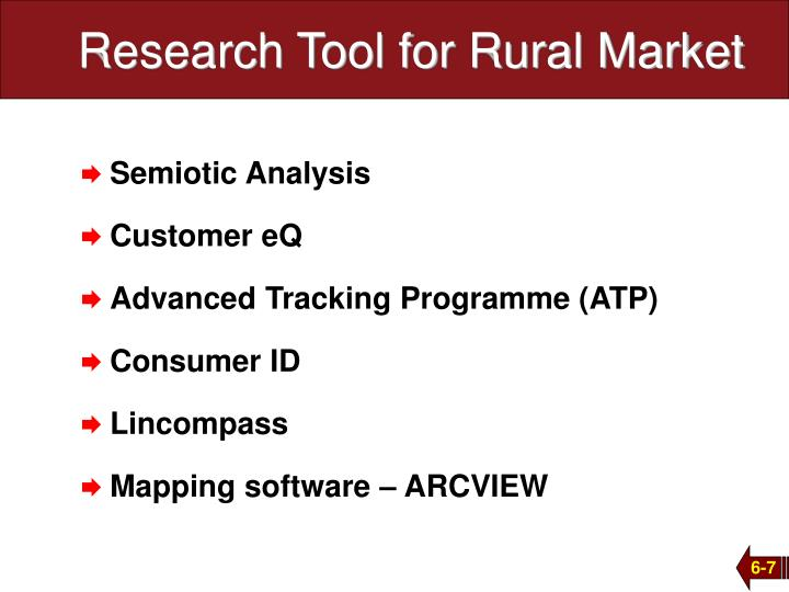 Research Tool for Rural Market