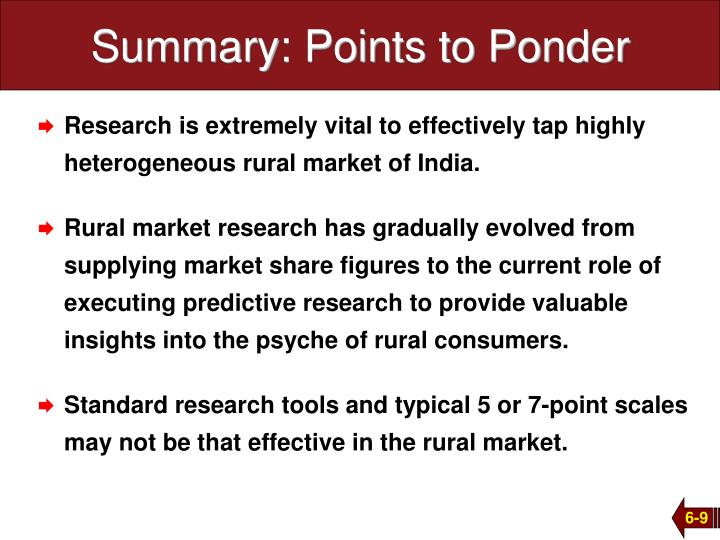 Summary: Points to Ponder