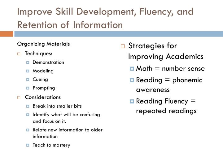 Improve Skill Development, Fluency, and Retention of Information