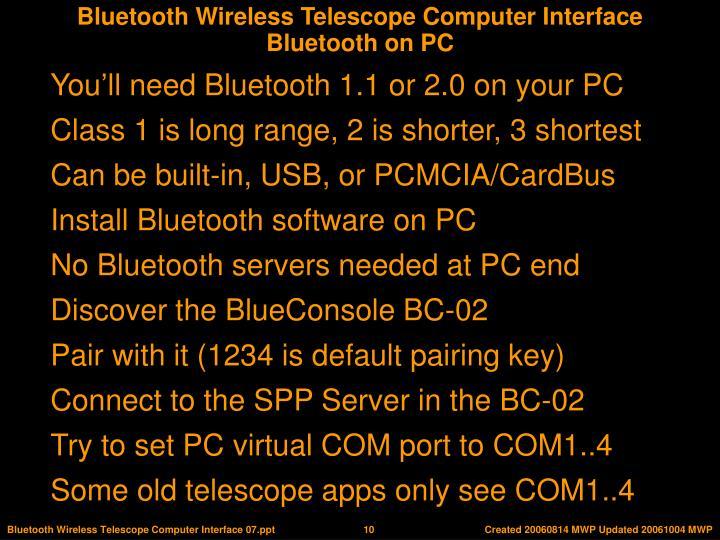 Bluetooth on PC