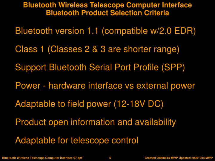 Bluetooth Product Selection Criteria