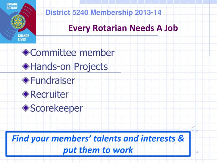 Every Rotarian Needs A Job