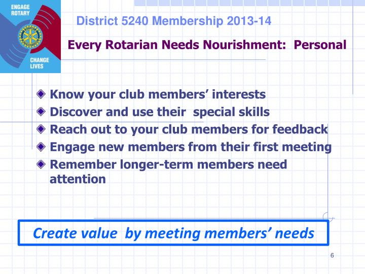 Every Rotarian Needs Nourishment:  Personal