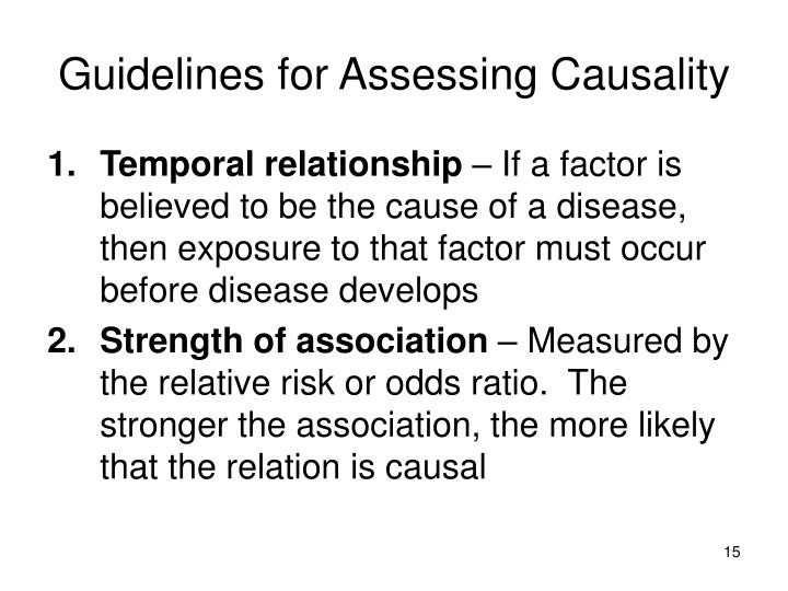 Guidelines for Assessing Causality