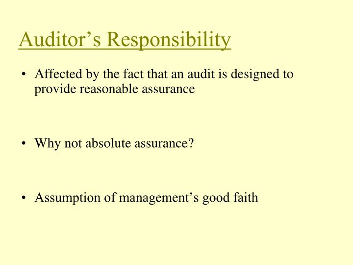 Auditor's Responsibility