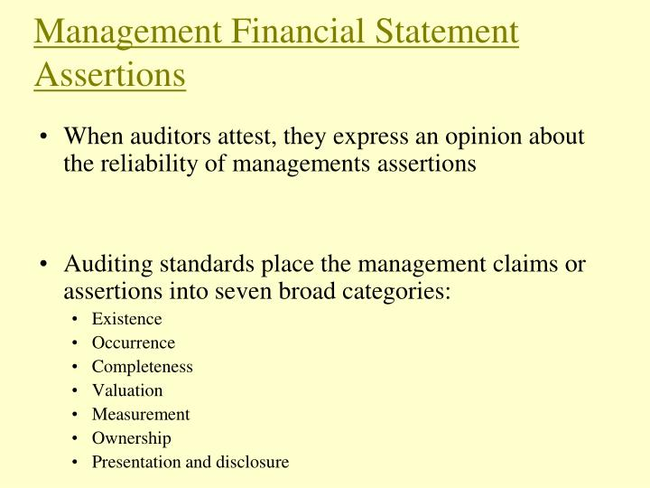 Management Financial Statement Assertions