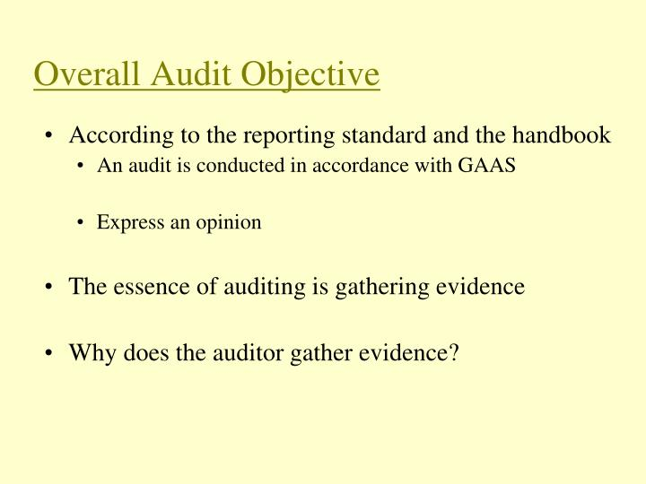 Overall audit objective