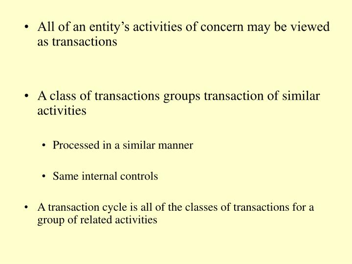 All of an entity's activities of concern may be viewed as transactions