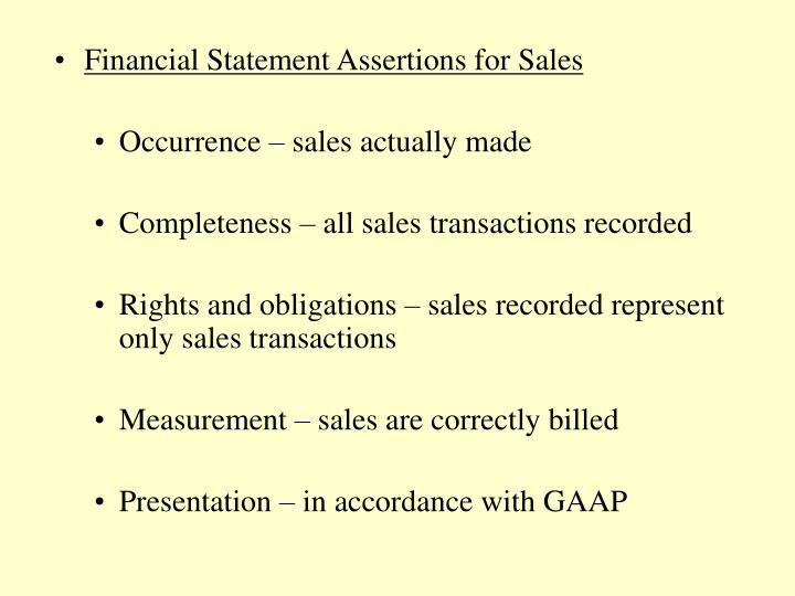 Financial Statement Assertions for Sales