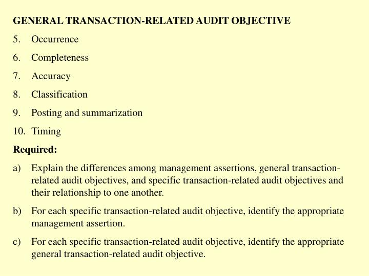 GENERAL TRANSACTION-RELATED AUDIT OBJECTIVE