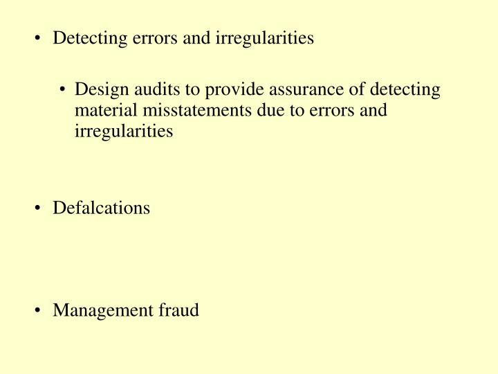 Detecting errors and irregularities