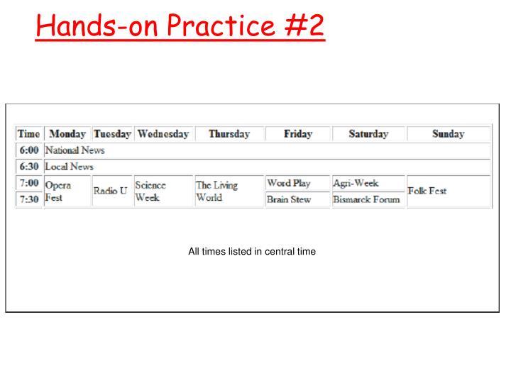 Hands-on Practice #2