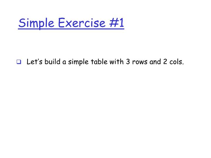 Simple Exercise #1