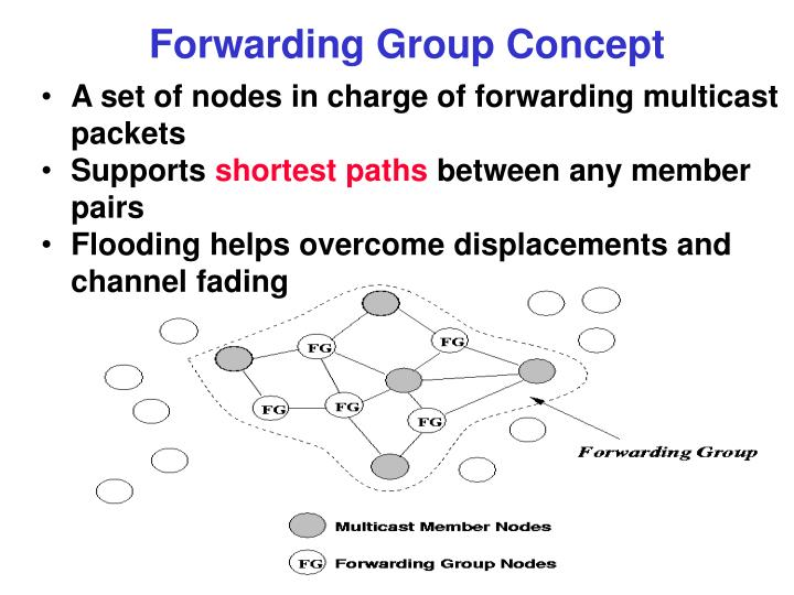 A set of nodes in charge of forwarding multicast packets