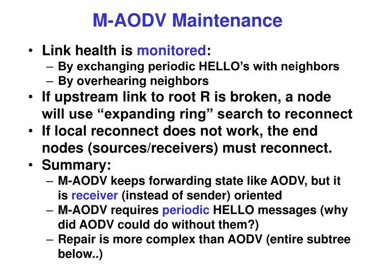 M-AODV Maintenance