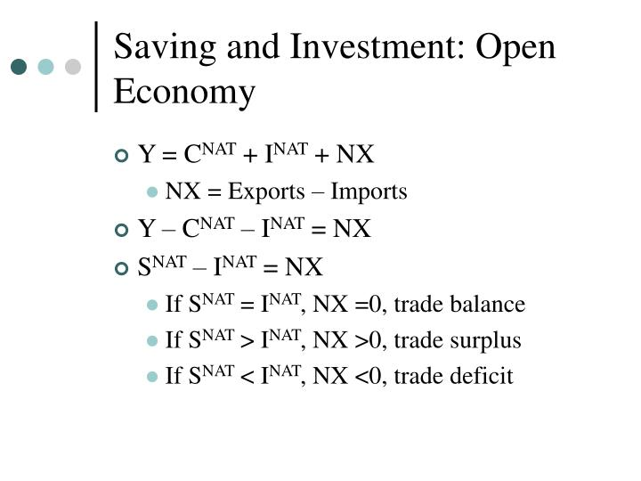 Saving and Investment: Open Economy