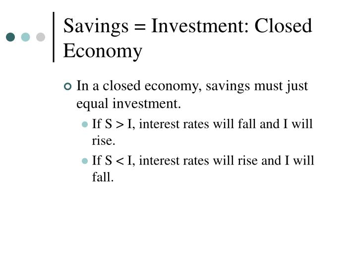 Savings = Investment: Closed Economy
