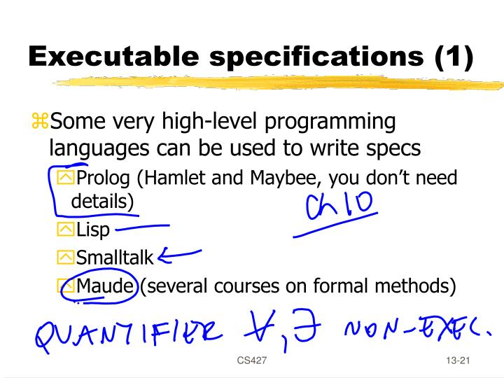 Executable specifications (1)