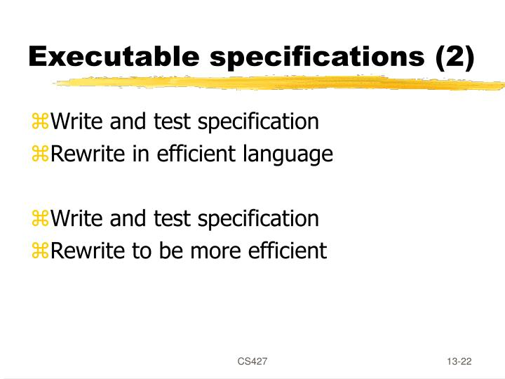 Executable specifications (2)