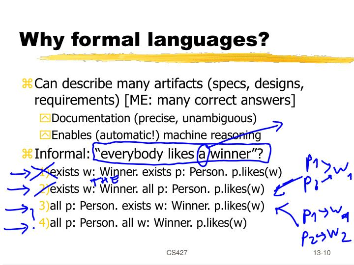 Why formal languages?