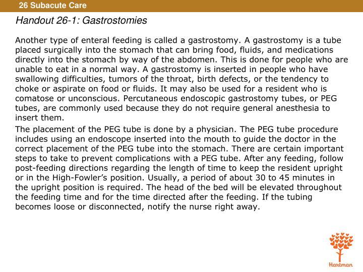 Handout 26-1: Gastrostomies