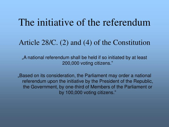 The initiative of the referendum