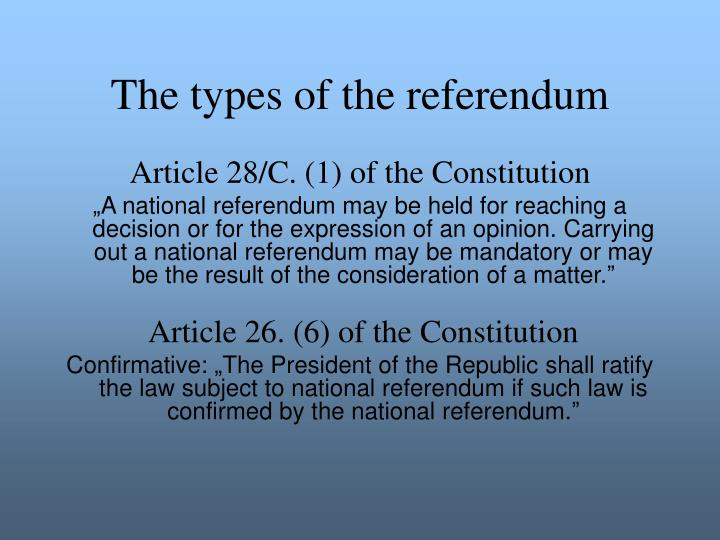 The types of the referendum