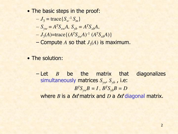 The basic steps in the proof: