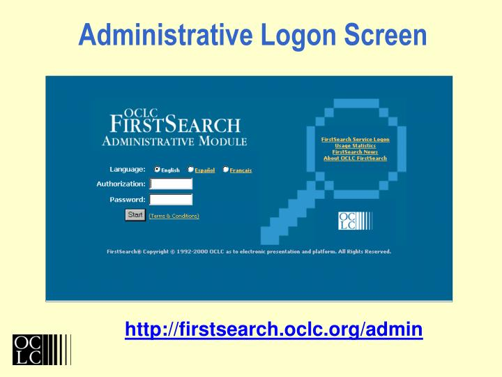 Administrative Logon Screen