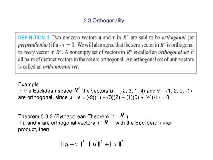 3.3 Orthogonality