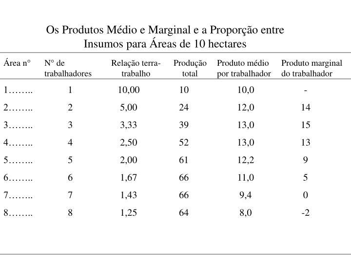 Os Produtos Médio e Marginal e a Proporção entre Insumos para Áreas de 10 hectares