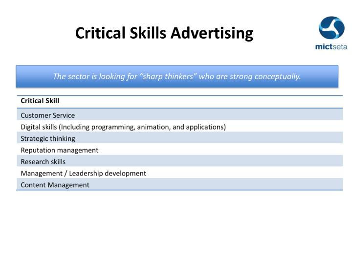 Critical Skills Advertising